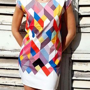 Chic Scoop Collar Short Sleeve Geometric Print SZ6